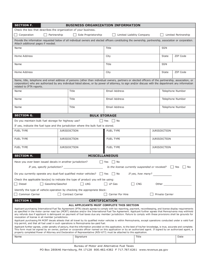 Ifta 200a Motor Carriers Road Tax Ifta New Account Registration Application Free Download