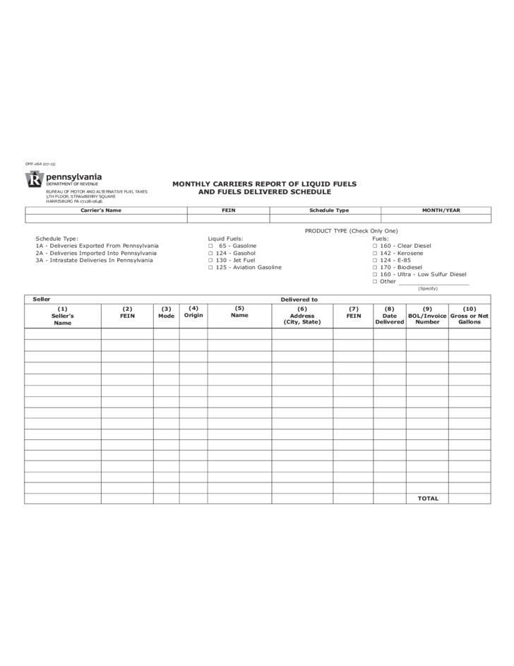 Dmf 26a monthly carriers report of liquid fuels and for Bureau 2a form