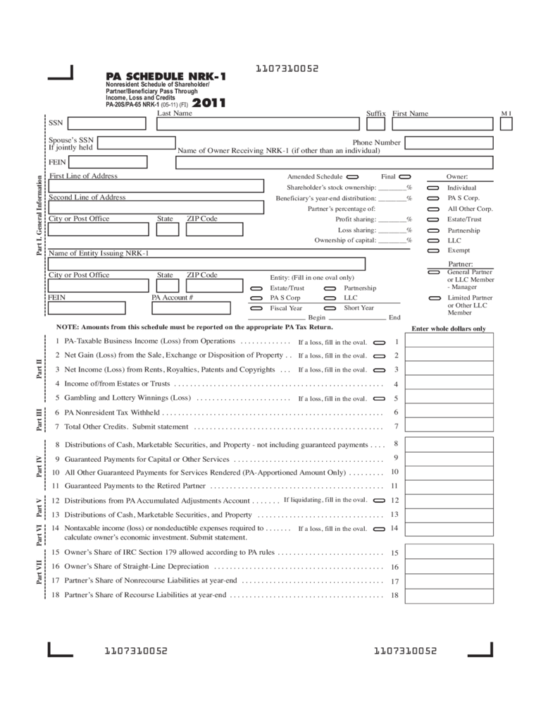 PA-20S/PA-65 - 2011 Nonresident Schedule of Shareholder/Partner/Beneficiary