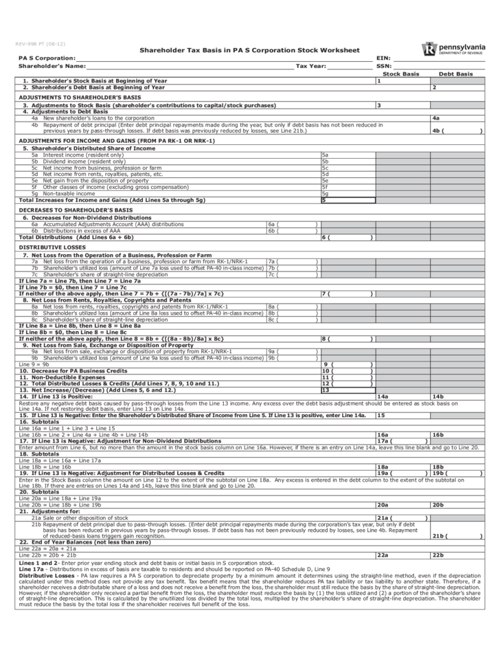 Printables Partnership Basis Worksheet rev 998 shareholder tax basis in pa s corporation stock 1 worksheet