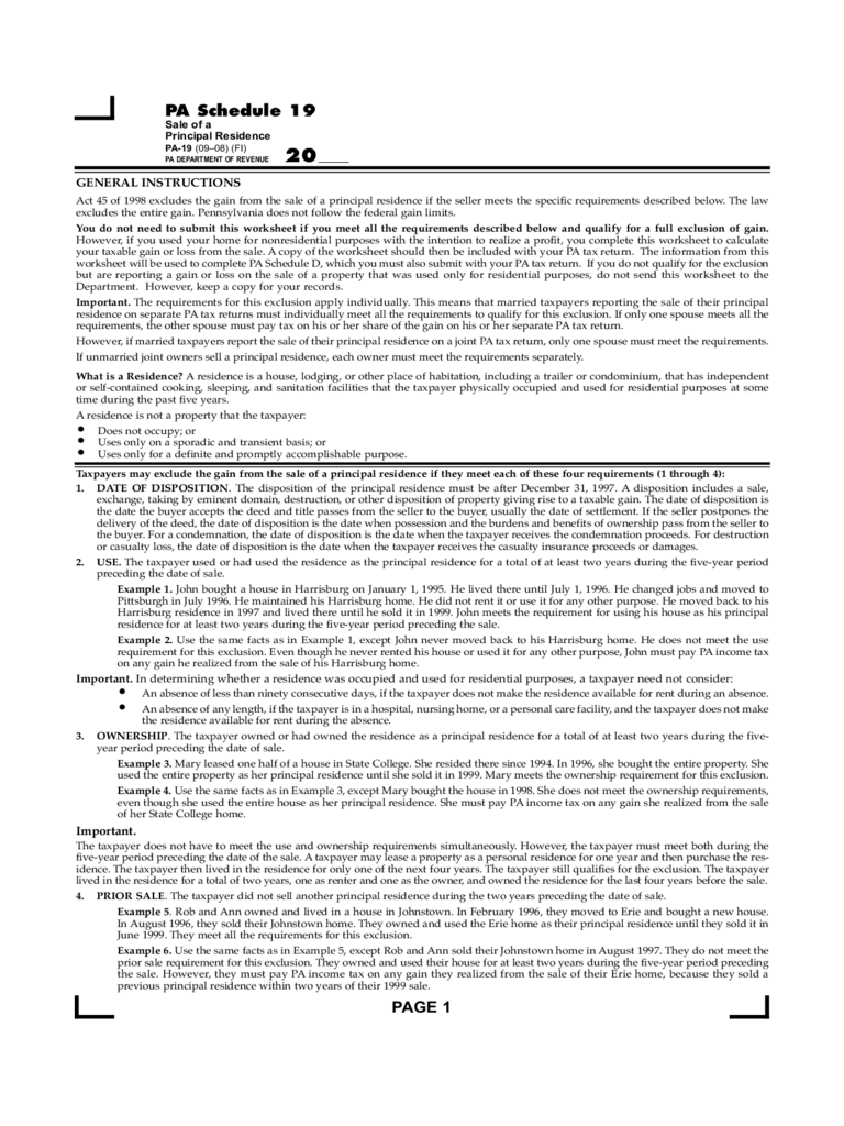 PA-19 - Taxable Sale of a Principal Residence Worksheet Free Download
