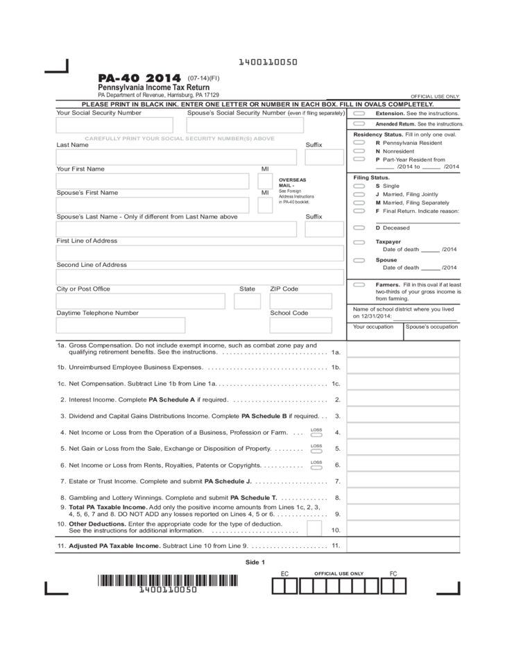 PA-40 - 2014 Pennsylvania Income Tax Return Free Download