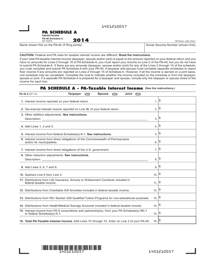Income Tax Forms Pa Income Tax Forms