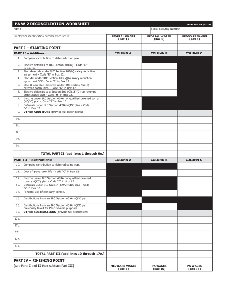 Pa 40 W 2 Rw Reconciliation Worksheet Free Download