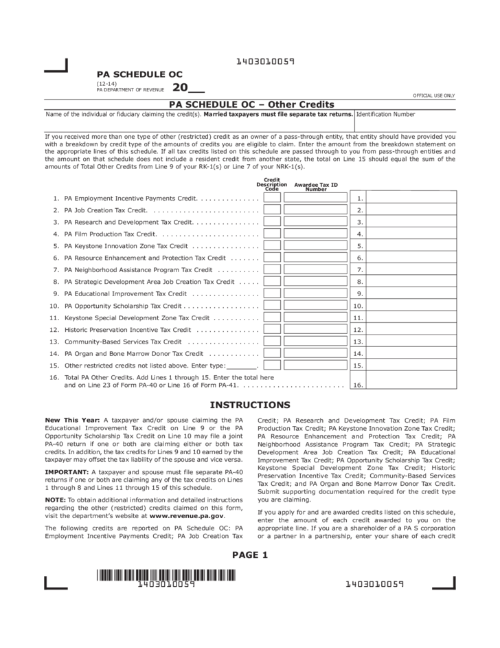PA-40 OC - 2014 PA Schedule OC - Other Credits Free Download