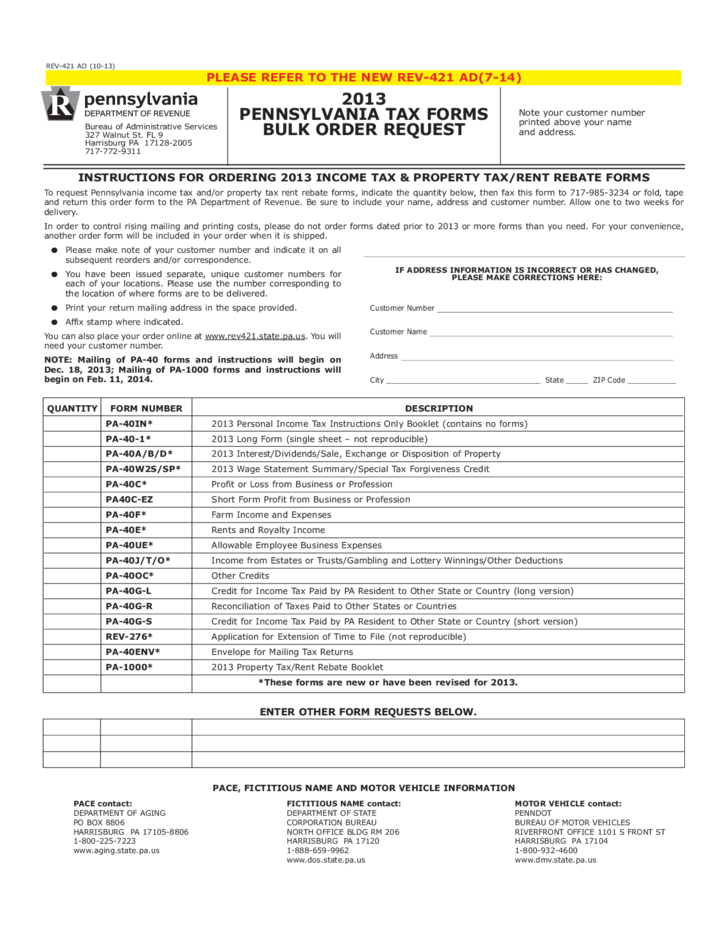 REV-421 - 2013 PA Tax Forms Bulk Order Request Free Download
