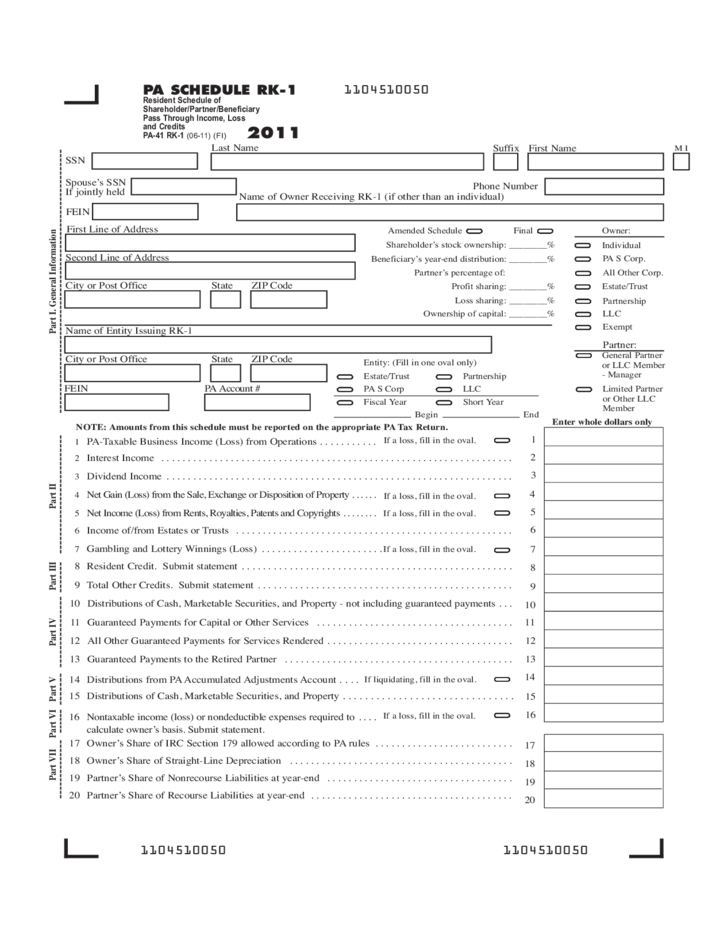 pa personal income tax forms