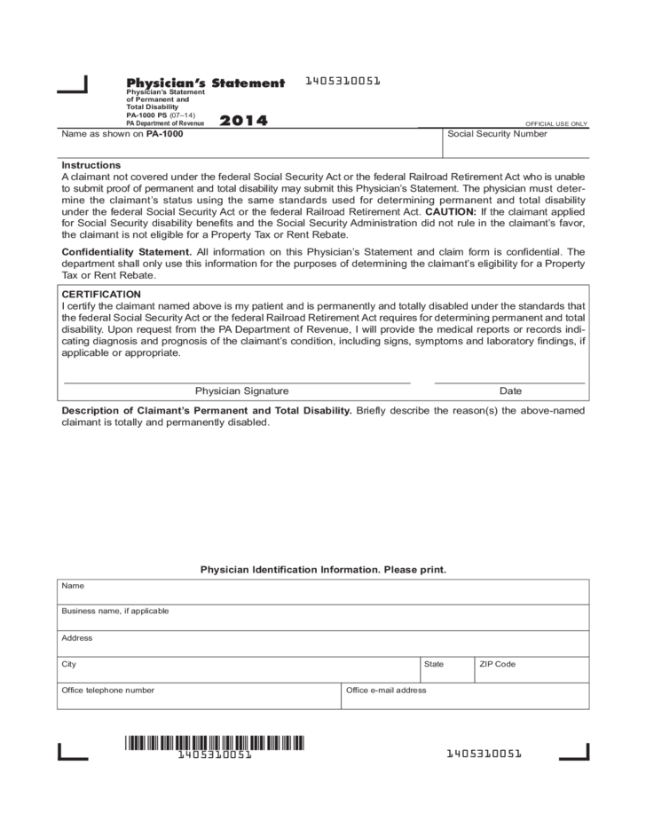 Pa 1000 Ps 2014 Physician S Statement Of Permanent And