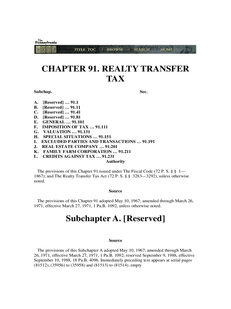 Revenue Code Chapter 91 - Realty Transfer Tax