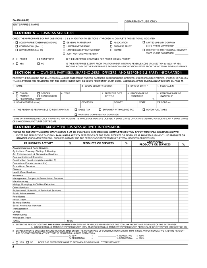PA-100 - PA Enterprise Registration Form and Instructions Free ...