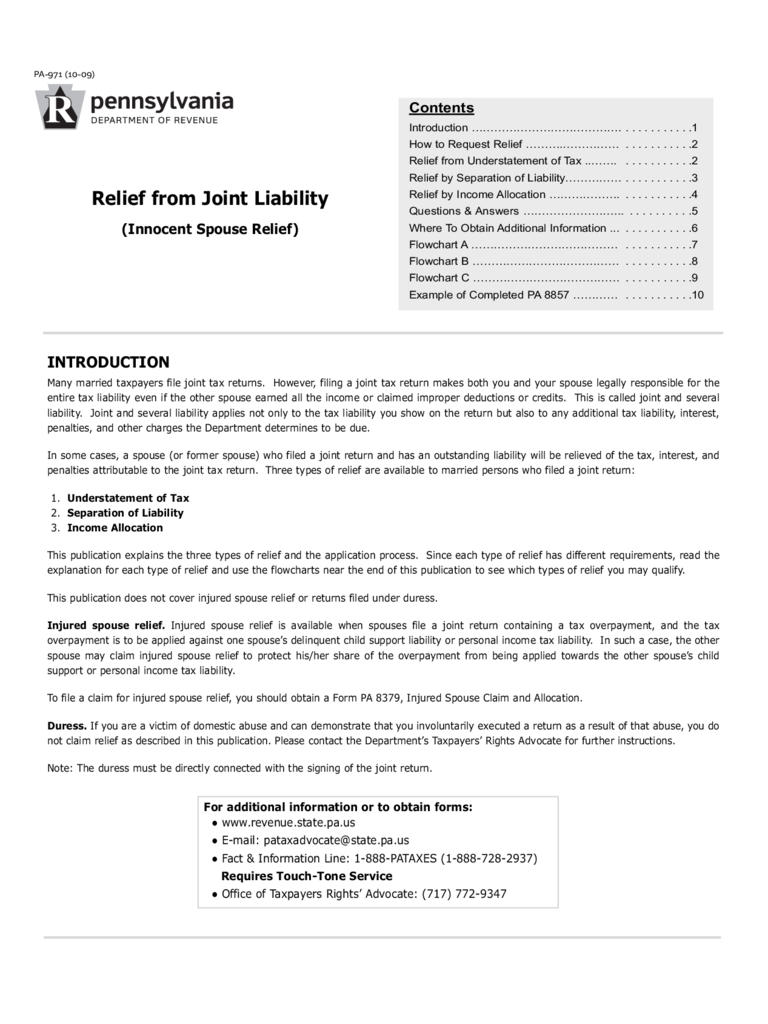 PA-971 - Request for Relief from Joint Liability