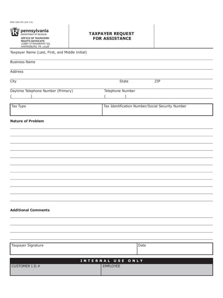 REV-556 - Taxpayer Request for Assistance