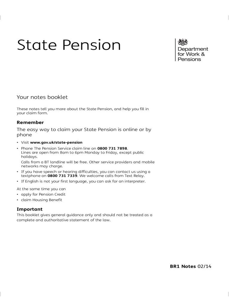 State Pension Application Form