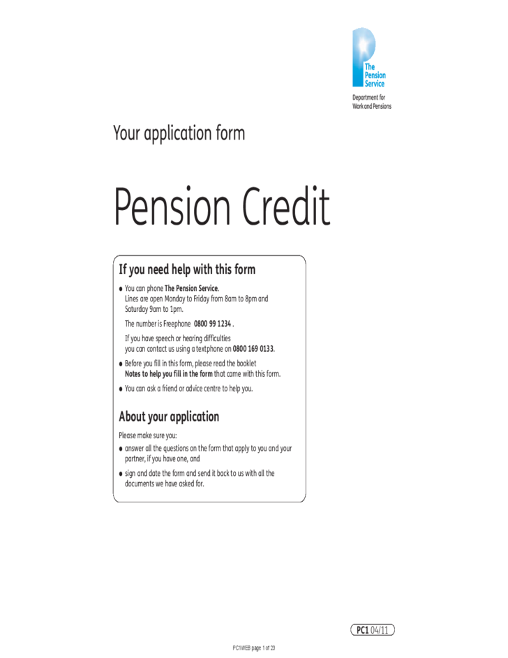 Pension Credit Bebefits Claim Form and Guidance Free Download – Pension Service Claim Form
