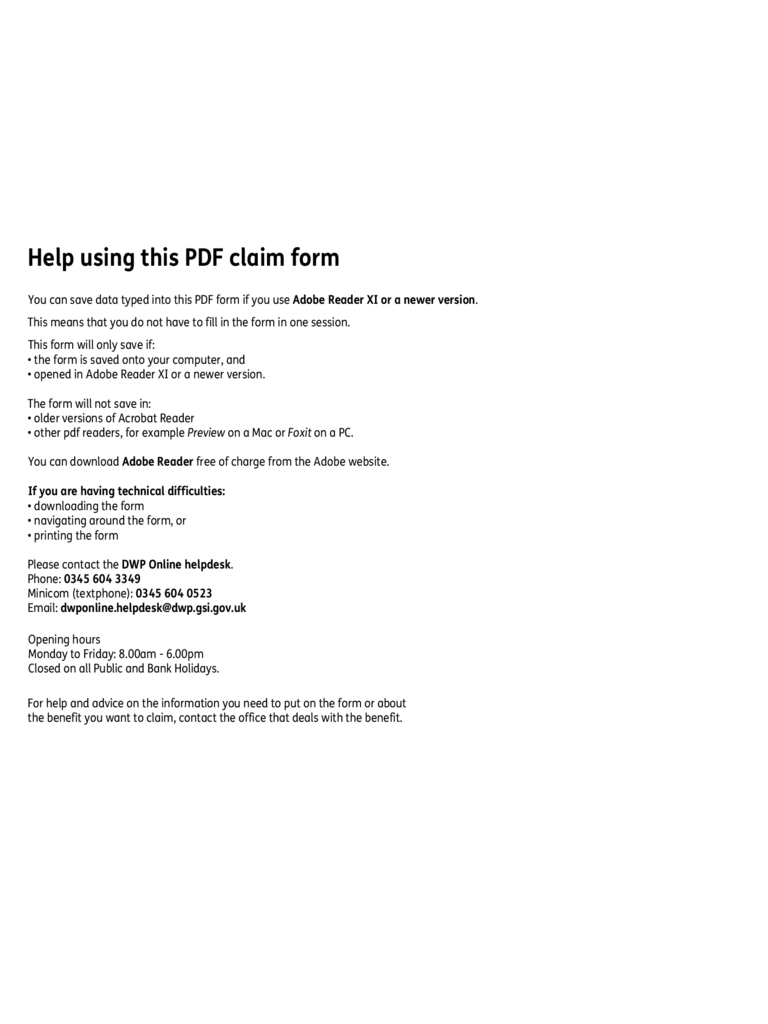 The Pension Service Claim Form - England