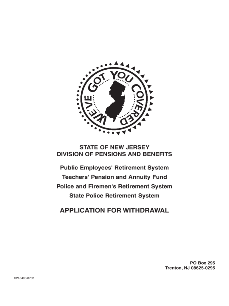 Pension Withdrawal Form - New Jersey