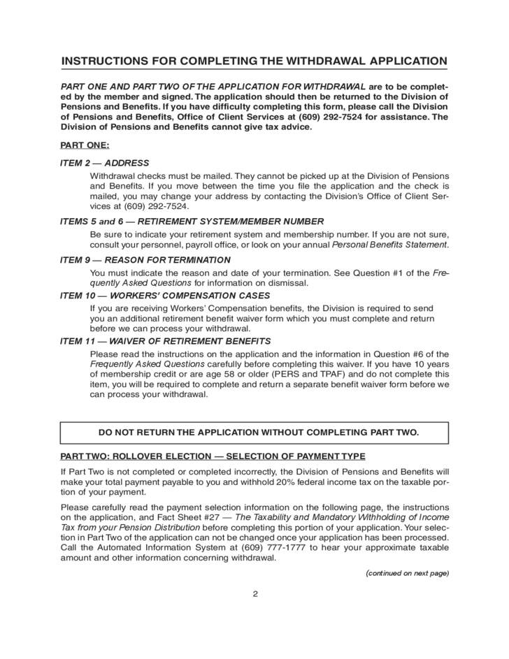 Pension Withdrawal Form - New Jersey Free Download