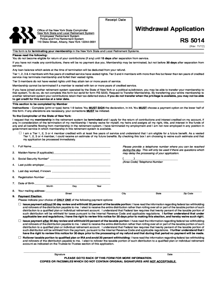 Withdrawal Application - New York Free Download