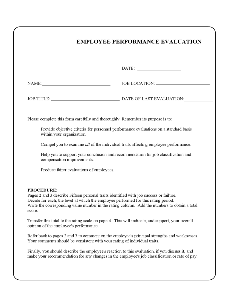 Sample Employee Performance Evaluation Form