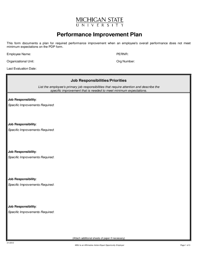 Performance Improvement Plan Form Michigan