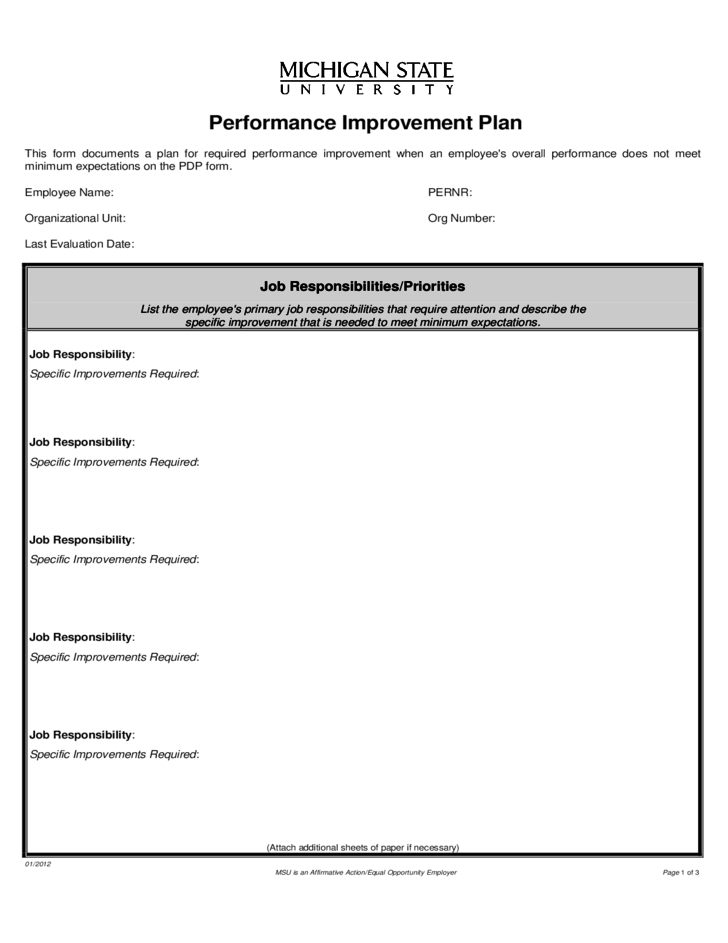 Performance Improvement Plan Format 40 Performance Improvement – Template for Performance Improvement Plan