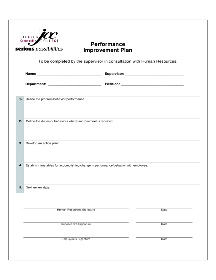 Performance Improvement Plan Form Mississippi Free Download