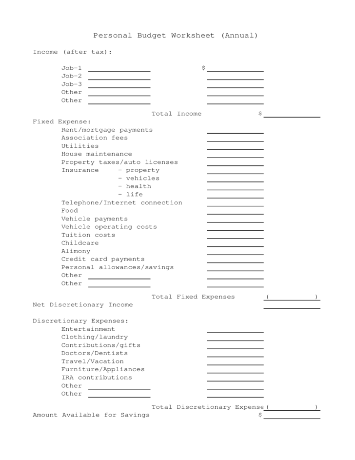 personal budget form annual free download