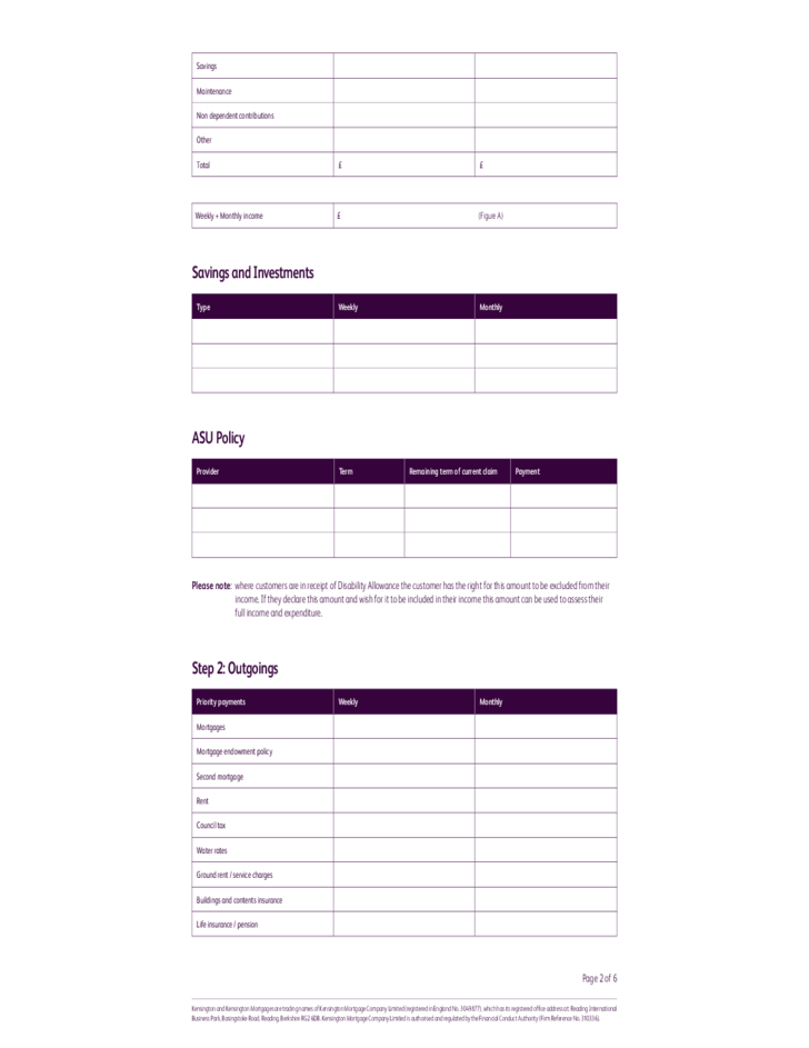 personal budgeting forms