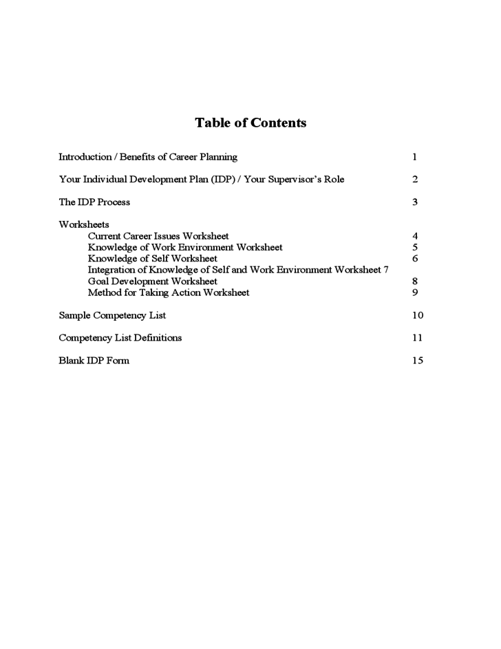 Individual Development Planning Us Department Of Commerce Free Download