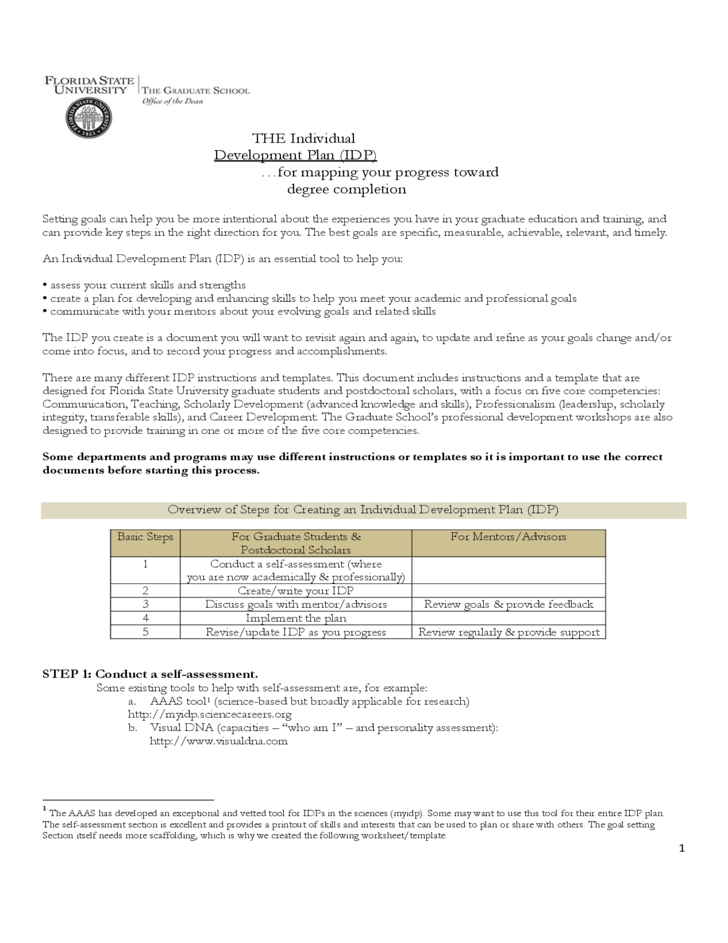 Individual development plan florida state university for Oum document templates