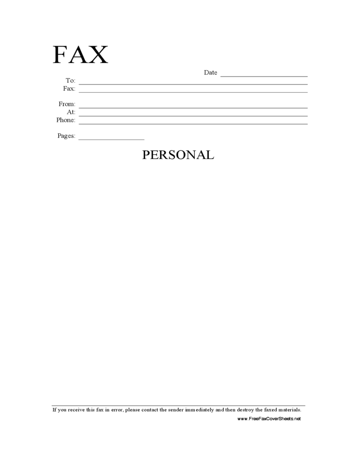 personal information fax cover sheet free download