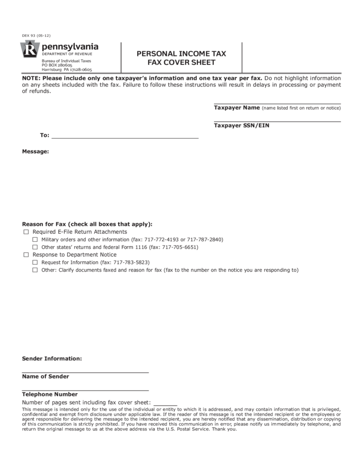 personal income tax fax cover sheet free download