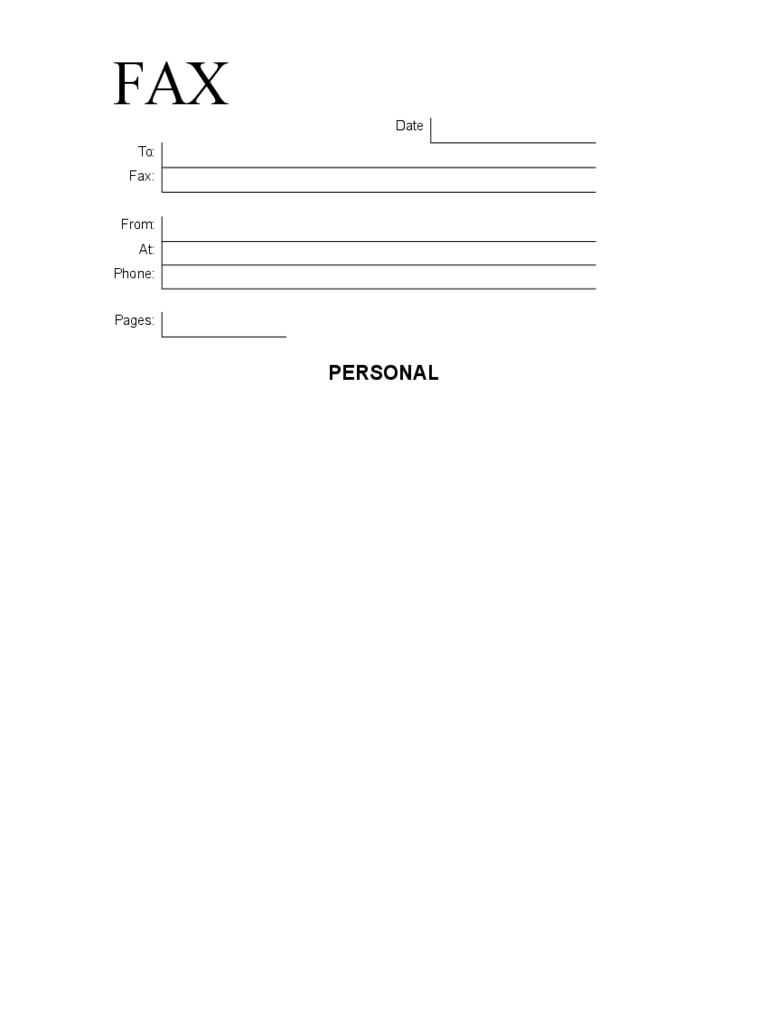Simple Personal Fax Cover Sheet