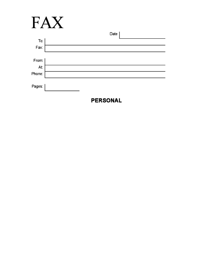 Simple Personal Fax Cover Sheet Free Download