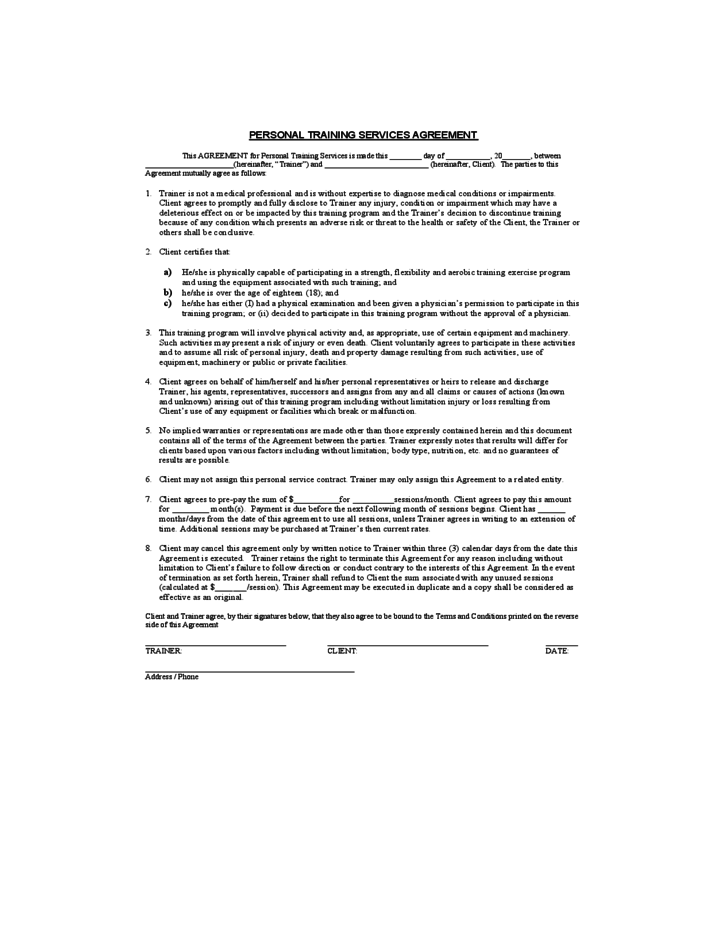 Personal training service agreement free download for Personal trainer contract templates