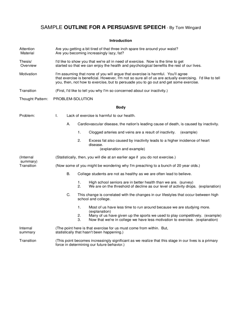 Sample Outline for a Persuasive Speech Free Download