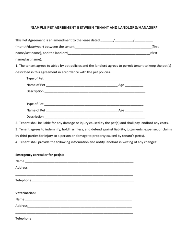 Sample Pet Agreement between Tenant and Landlord/Manager
