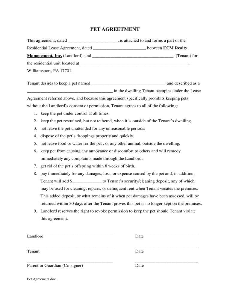 pet agreement form
