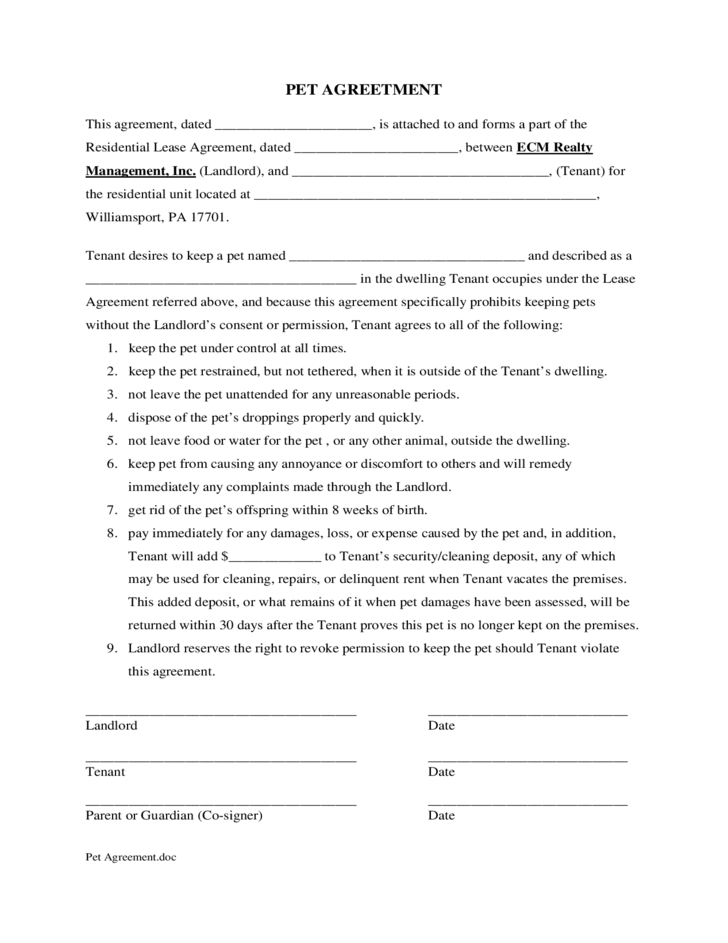 sample form for pet agreement free download