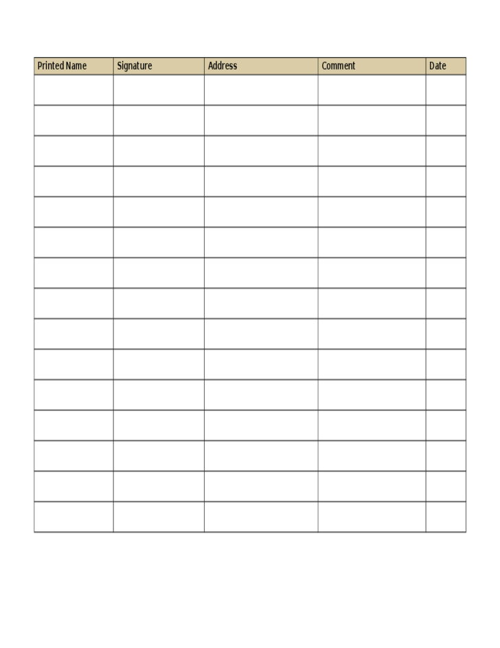 Petition Sheet Template  Free Printable Petition Template