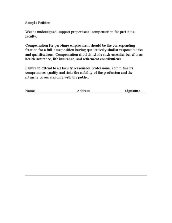 petition signature page template .