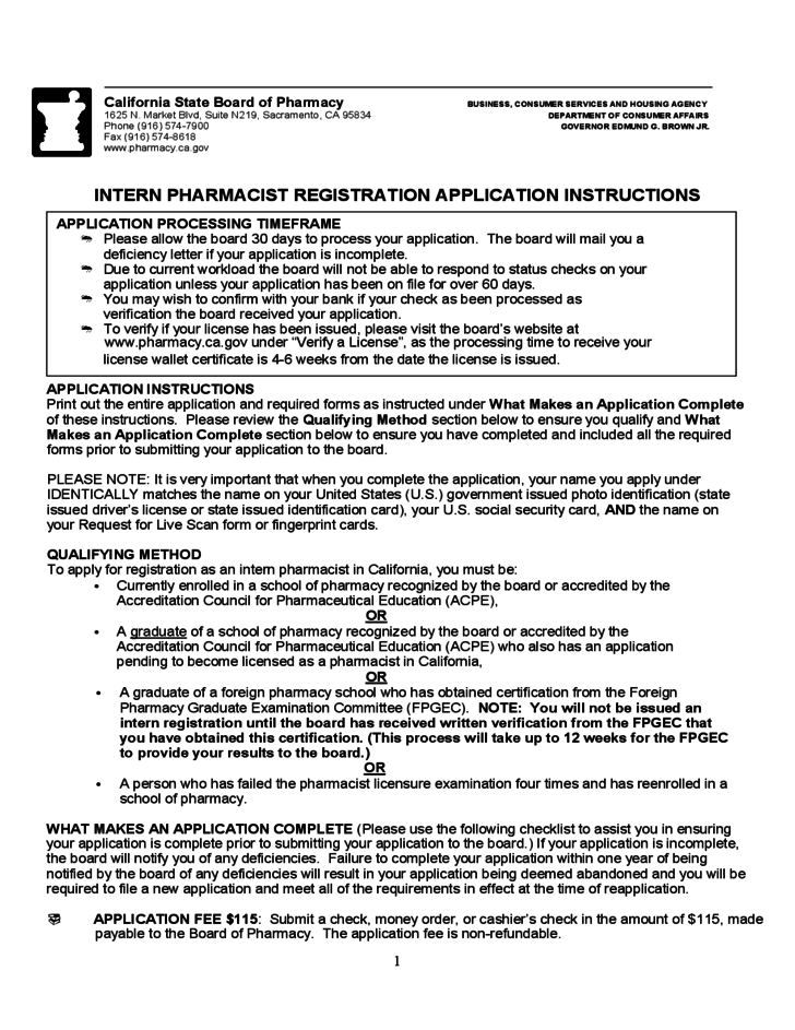 Intern Pharmacist Registration Application Instructions California