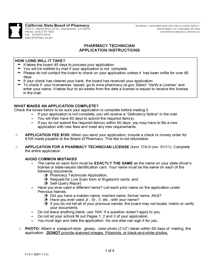 Pharmacy Technician Application Instructions California Free Download