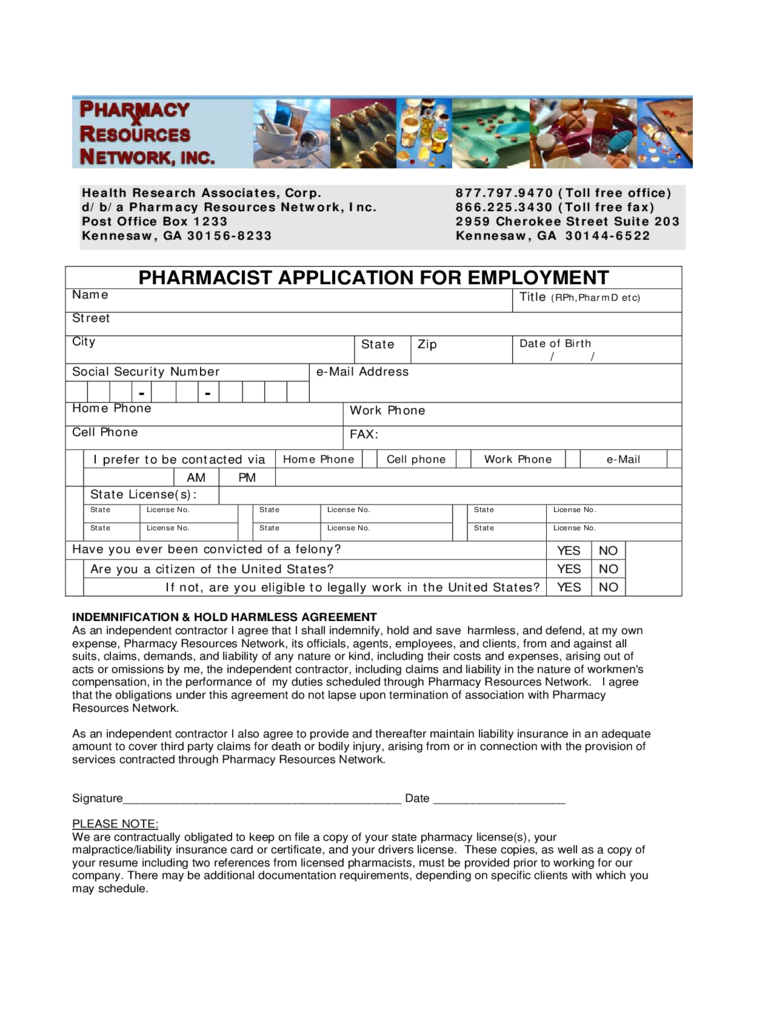 Pharmacy Application for Employment