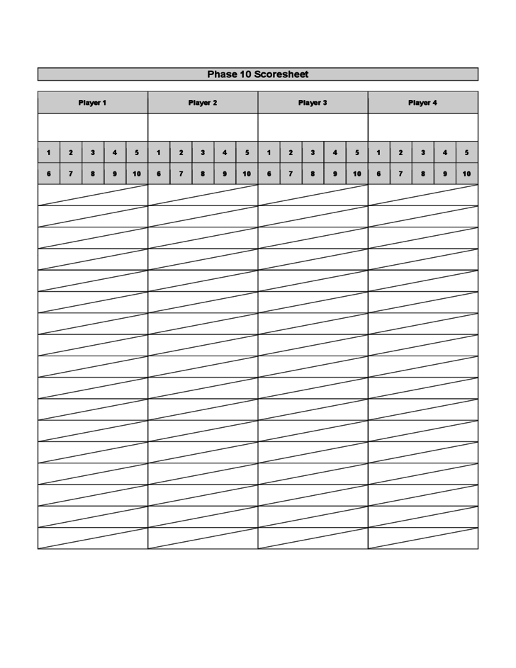 Doc585675 Sample Phase 10 Score Sheet Template 7 Phase 10 – Sample Phase 10 Score Sheet Template