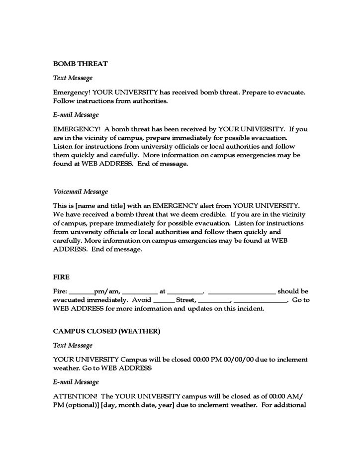 Emergency message templates free download for Emergency message templates
