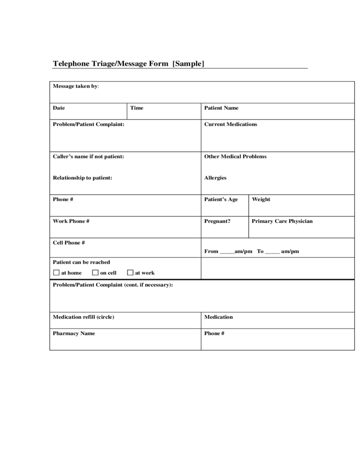 Sample Telephone Message Form Free Download