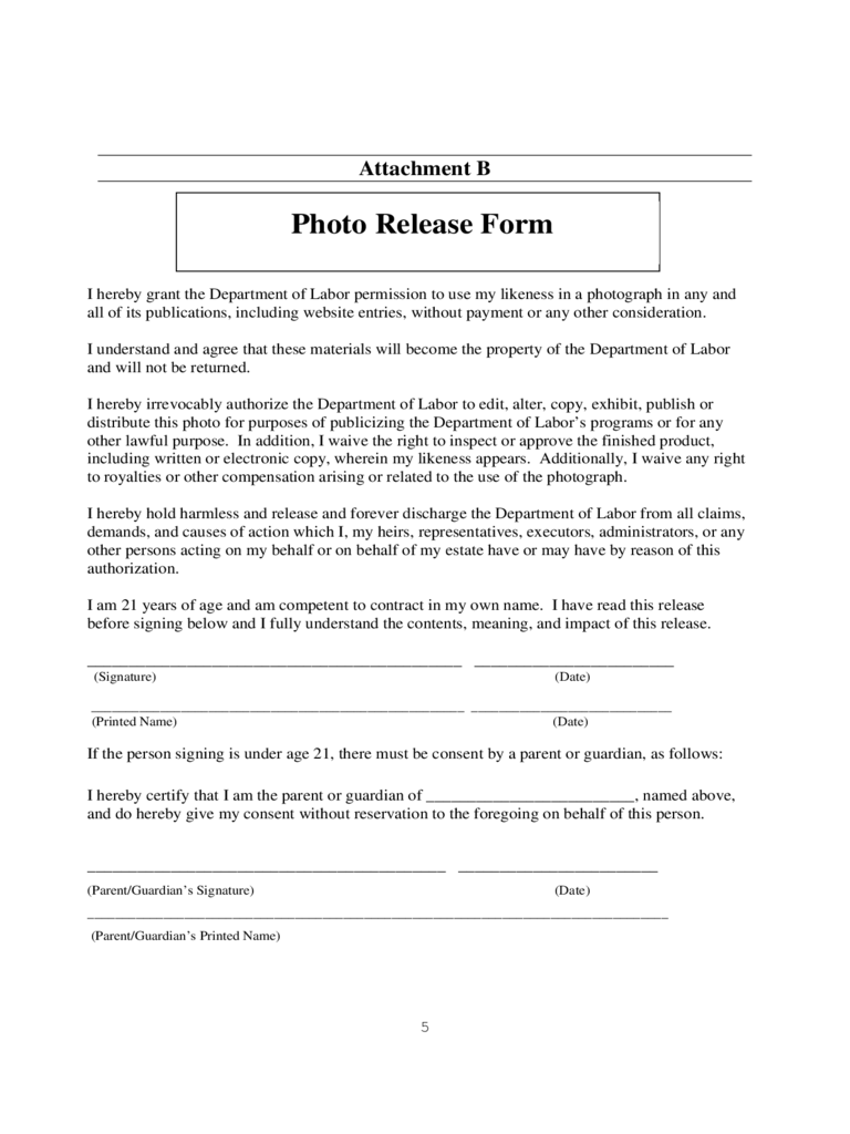 Photo Release Form Format Free Download