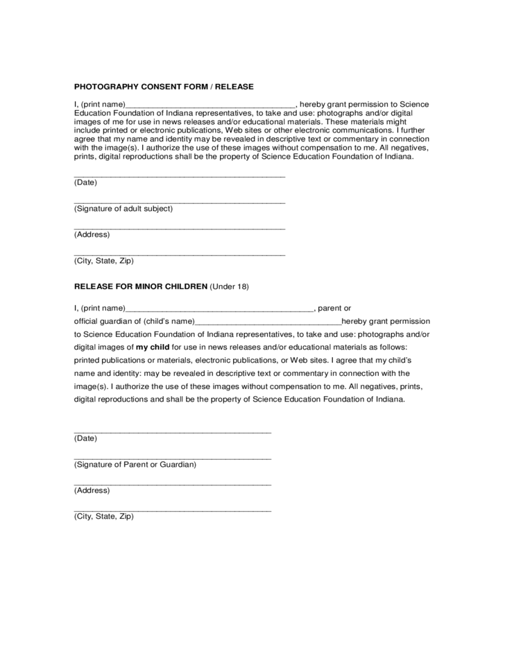 Photography Consent Form / Release