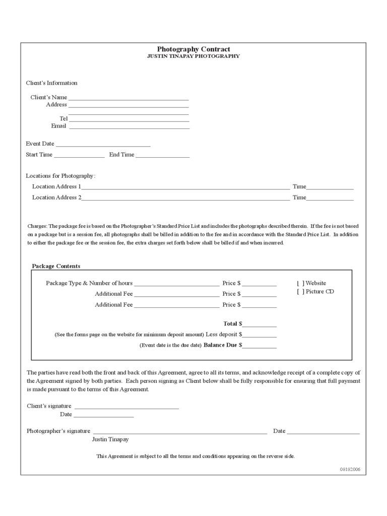 Photography Contract Template 6 Free Templates In Pdf Word Excel